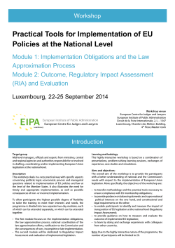 Practical Tools for Implementation of EU Policies at the