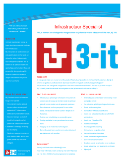 Vacature Infrastructuur Specialist (senior) - 3-it