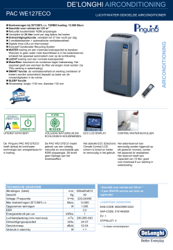 PAC WE127ECO - delonghi group welkom