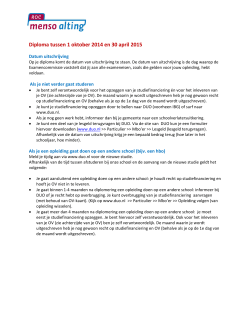Diploma tussen 1 oktober 2014 en 30 april 2015