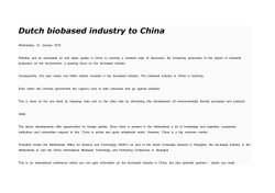 Dutch biobased industry to China 20-01-2015