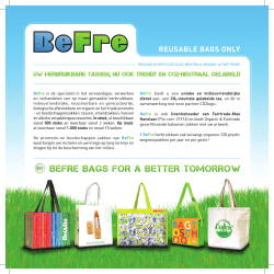 BEfRE BAgS foR A BETTER TomoRRoW