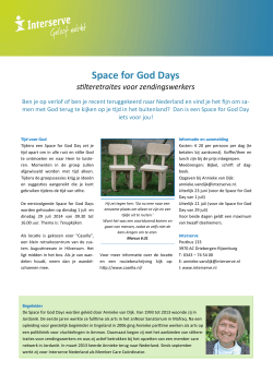 Space for God Days - Member Care Nederland