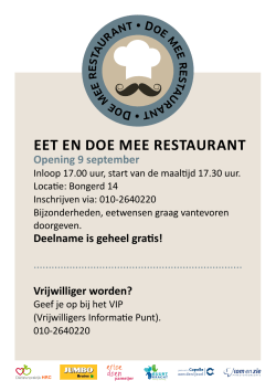 EET EN DOE MEE RESTAURANT Opening 9 september