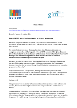 Press release New UNESCO world heritage thanks to Belgian tec