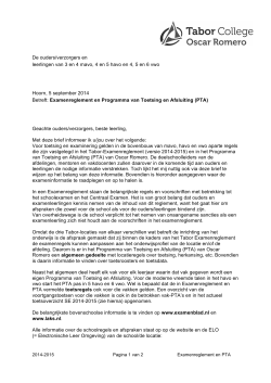 Examenreglement en PTA-brief