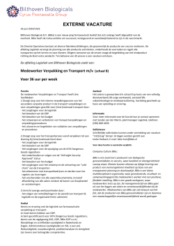 EXTERNE VACATURE - Bilthoven Biologicals