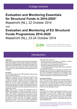 Evaluation and Monitoring Essentials for Structural Funds in