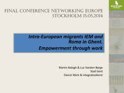 Intra-European migrants IEM and Roma in Ghent. Empowerment