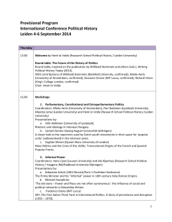 Provisional Program International Conference Political History