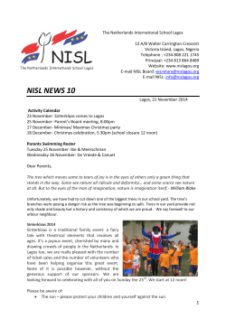 NISL NEWS 10 - The Netherlands International School Lagos