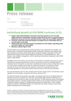 Institutional Growth Continues at KAS BANK continues in Q3