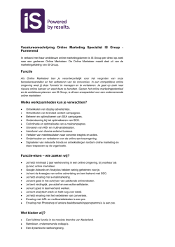 Vacatureomschrijving Online Marketing Specialist IS Group