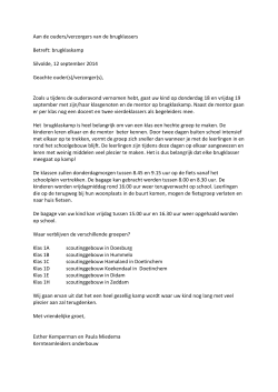 Brief informatie brugklaskamp 18 september 2014