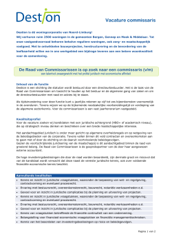 Vacature commissaris