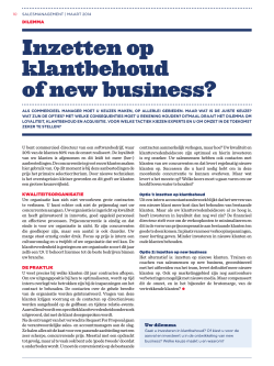 Inzetten op klantbehoud of new business?