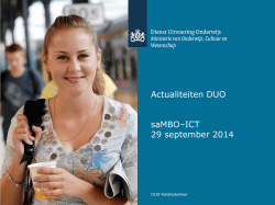 Actualiteiten DUO 29 sep 2014 - saMBO-ICT