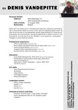 Download my CV - Denis Vandepitte