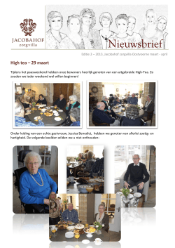 High tea – 29 maart - Jacobahof Zorgvilla