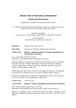 Program Seventh day of Historical Demography 4 December 2014