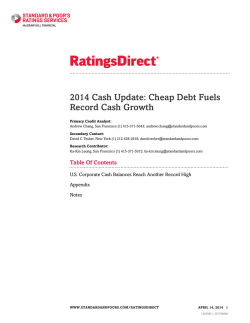 2014 Cash Update: Cheap Debt Fuels Record Cash