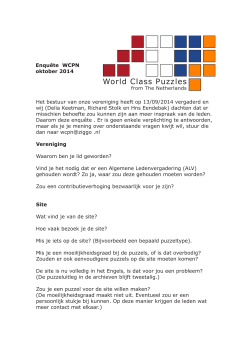 Enquete oktober 2014 - World Class Puzzles | from The Netherlands