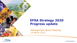 EFSA Strategy 2020 Progress update