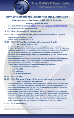 OWASP Netherlands Chapter Meeting, April 30th UWV Amsterdam