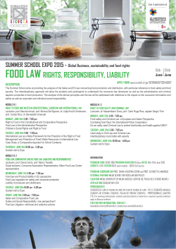 FOOD LAW RIGHTS, RESPONSIBILITY, LIABILITY