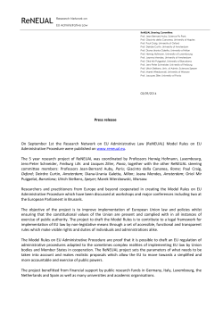 Press release On September 1st the Research Network on EU