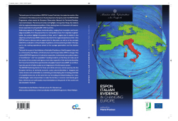 ESPON ITALIAN EVIDENCE IN CHANGING EUROPE Edited by