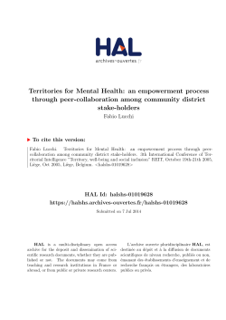 Territories for Mental Health: an empowerment process - Hal-SHS