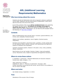 ARL (Additional Learning Requirements) Mathematics