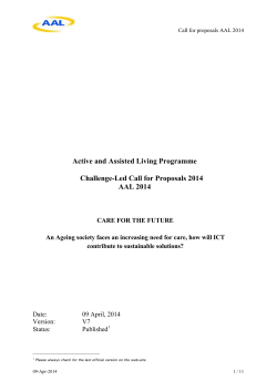 Call AAL 2014 - Ambient Assisted Living Joint Programme
