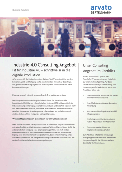 Industrie 4.0 Consulting Angebot