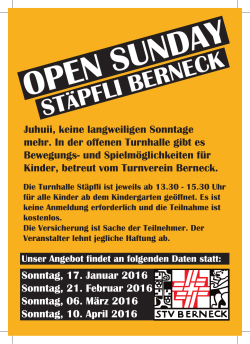 open sunday - STV Berneck