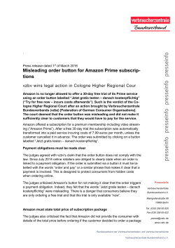 Misleading order button for Amazon Prime subscriptions