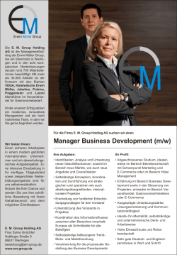 Manager Business Development (m/w)