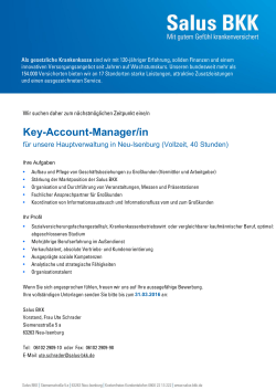 Key-Account-Manager/in - Das GKV