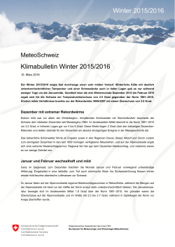 Klimabulletin Winter 2015/2016 Winter 2015/2016