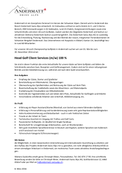 Head Golf Client Services (m/w) 100