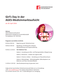 Girl`s Day in der AGES-Medizinmarktaufsicht