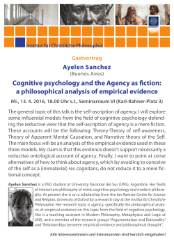 Cognitive psychology and the Agency as fiction: a philosophical