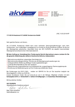LINZ, 10.03.2016/AP 17 S 20/16i Insolvenz S.T.A.M.M. Forstservice