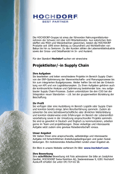 Projektleiter/-in Supply Chain