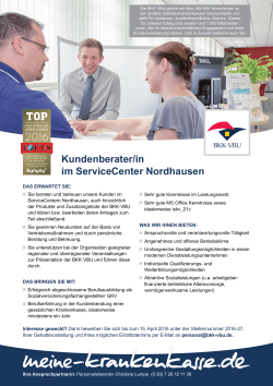Kundenberater/in im ServiceCenter Nordhausen