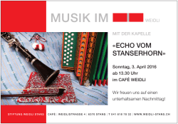 Musik im Café Weidli am 3. April 2016