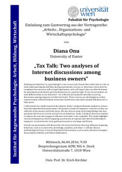 "Diana Onu ""Tax Talk: Two analyses of Internet discussions among"