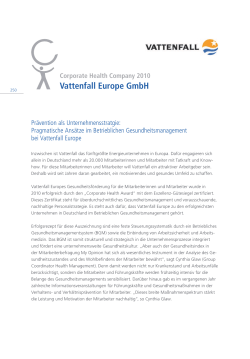 Vattenfall Europe GmbH - Corporate Health Award