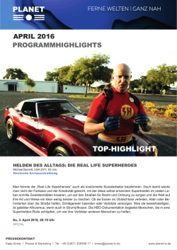April 2016 Programmhighlights